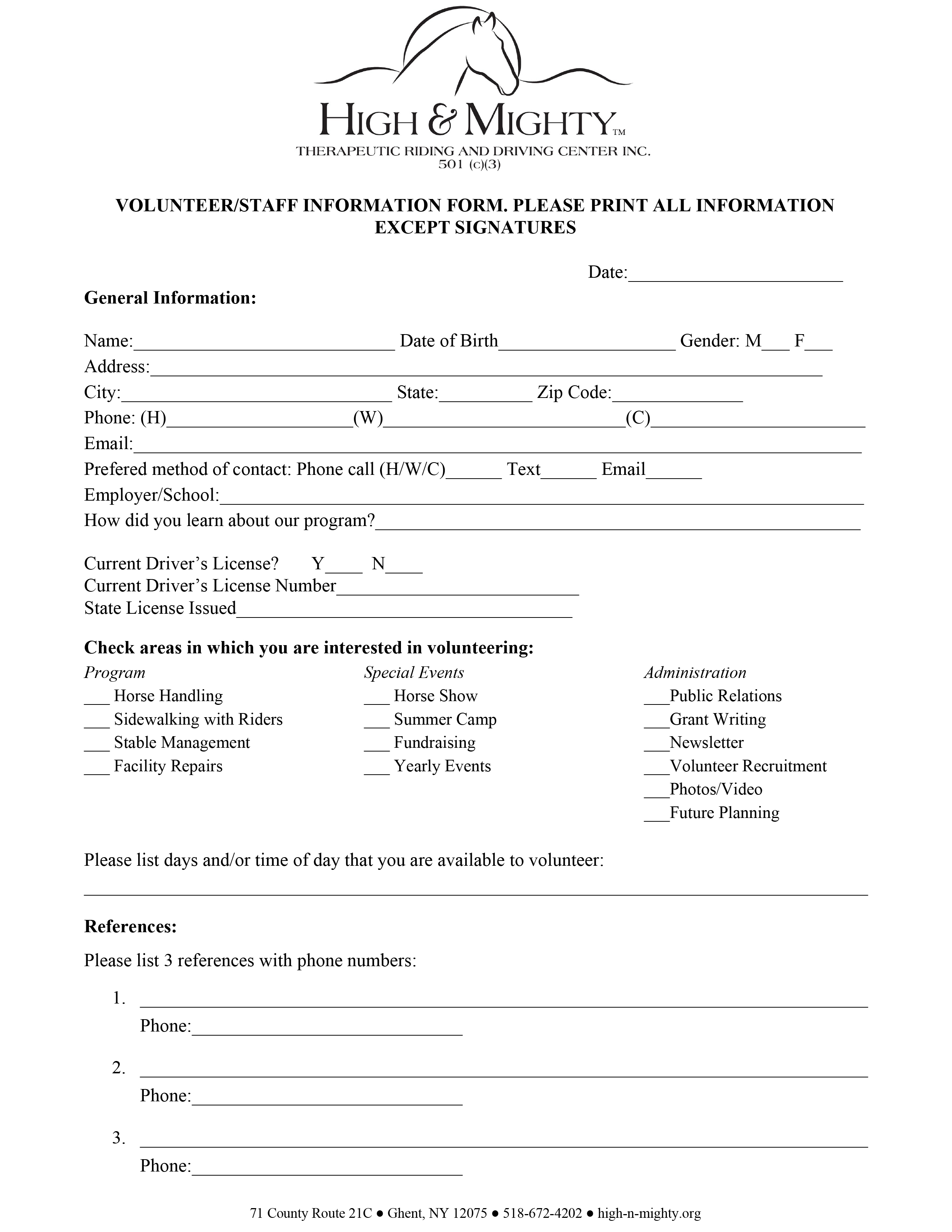 volunteerstaff application form